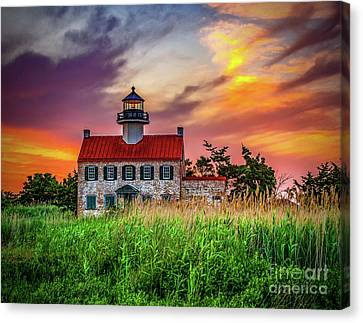 Sunset Colors At East Point Canvas Print by Nick Zelinsky