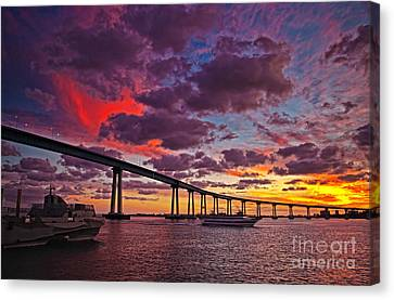 Sunset Crossing At The Coronado Bridge Canvas Print by Sam Antonio Photography