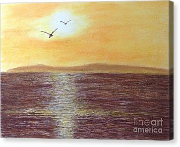 Sunset And Seagulls Canvas Print