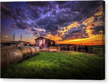 Barn Storm Canvas Print - Sunset Dairy by Marvin Spates