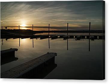 Sunset Docks Canvas Print by Justin Johnson