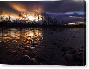 Sunset Drama Over Boise River In Boise Idaho Canvas Print