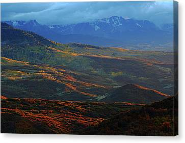 Canvas Print featuring the photograph Sunset During Autumn Below The San Juan Mountains In Colorado by Jetson Nguyen