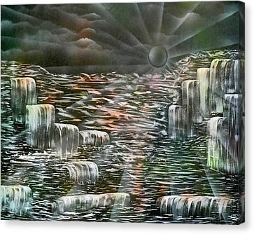 Sunset Falls Canvas Print by BethofArt Donley