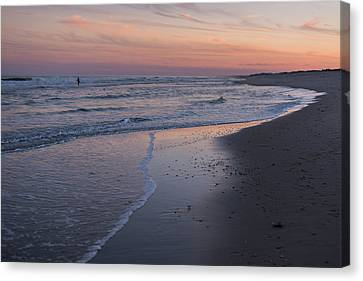 Canvas Print featuring the photograph Sunset Fishing Seaside Park Nj by Terry DeLuco