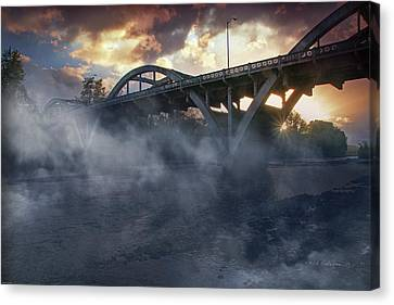 Sunset Fog At Caveman Bridge Canvas Print