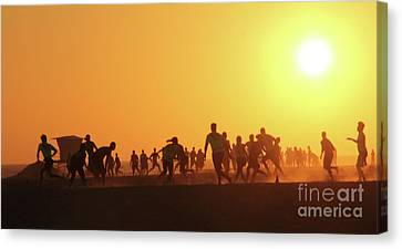 Canvas Print - Sunset Football Huntington Beach by Linda Queally