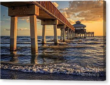 Canvas Print featuring the photograph Sunset Fort Myers Beach Fishing Pier by Edward Fielding