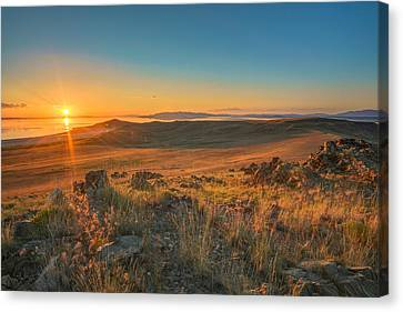 Sunset From Antelope Island Canvas Print by James Udall