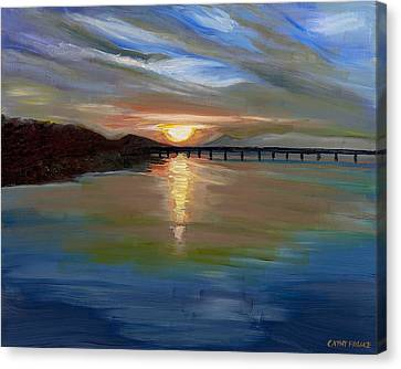 Sunset From The Big Dam Bridge Canvas Print by Cathy France