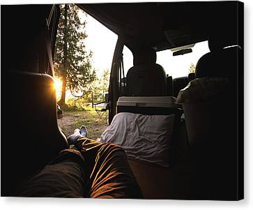 Sunset From The Van Canvas Print by Cale Best
