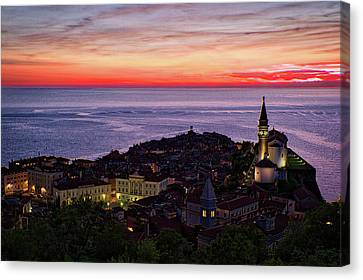 Canvas Print featuring the photograph Sunset From The Walls #3 - Piran Slovenia by Stuart Litoff