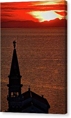 Canvas Print featuring the photograph Sunset From The Walls #4 - Piran Slovenia by Stuart Litoff
