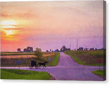 Canvas Print featuring the photograph Sunset Gallop by Joel Witmeyer