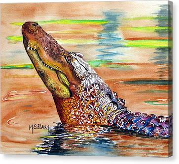 Sunset Gator Canvas Print by Maria Barry