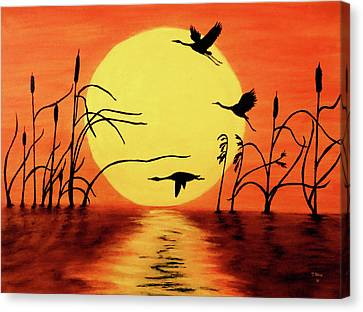 Canvas Print featuring the painting Sunset Geese by Teresa Wing