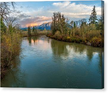 Sunset Glow Over The Snoqualmie River Canvas Print by Rob Green