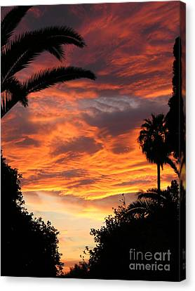 Sunset God's Fingers In Clouds  Canvas Print by Diane Greco-Lesser