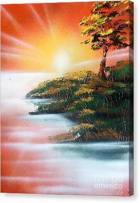 Canvas Print featuring the painting Sunset by Greg Moores