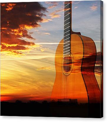 Concert Images Canvas Print - Sunset Guitar Serenade Square by Gill Billington