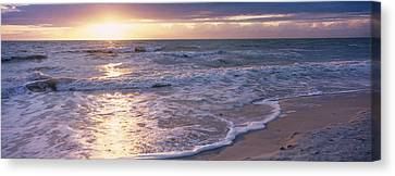Sunset, Gulf Of Mexico, Florida, Usa Canvas Print by Panoramic Images