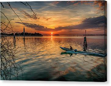 Sunset Heading Home Venice Italy_dsc4921_03032017 Canvas Print
