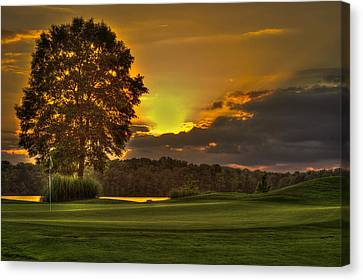 Sunset Hole In One The Landing Canvas Print by Reid Callaway