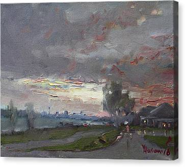 Rainy Day Canvas Print - Sunset In A Rainy Day by Ylli Haruni
