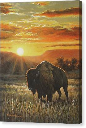 Canvas Print featuring the painting Sunset In Bison Country by Kim Lockman