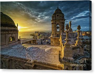 Canvas Print featuring the photograph Sunset In Cadiz Cathedral View From Levante Tower Cadiz Spain by Pablo Avanzini