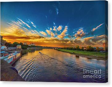 Sunset In Dresden Canvas Print by Pravine Chester