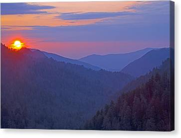Sunset In Great Smoky Mountain National Park Tennessee Canvas Print