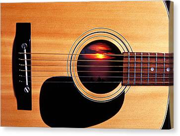 Sunset In Guitar Canvas Print