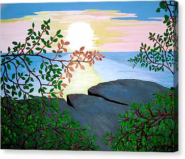 Canvas Print featuring the painting Sunset In Jamaica by Stephanie Moore