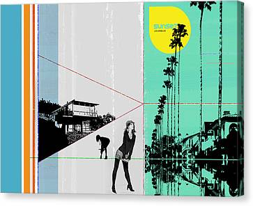 Sunset In La Canvas Print by Naxart Studio