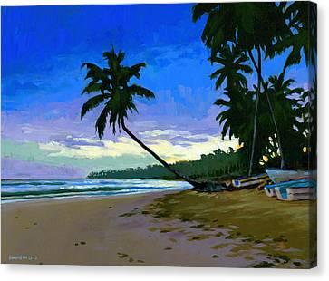 Sunset In Las Terrenas Canvas Print by Douglas Simonson