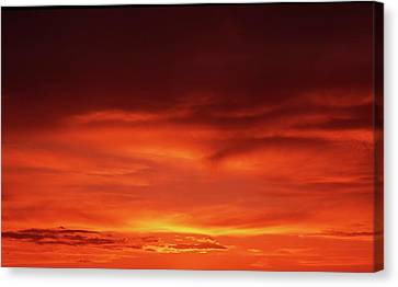 Canvas Print featuring the photograph Sunset In Orange by Edward R Wisell