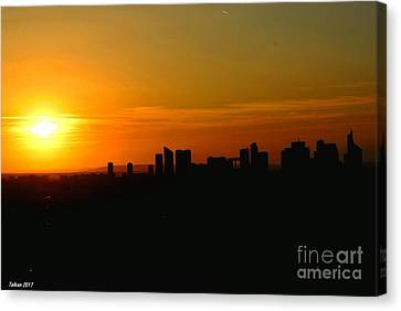 Sunset In Paris By Taikan Canvas Print