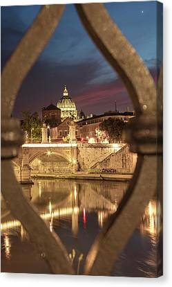 Sunset In Rome With Bridge  Canvas Print