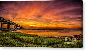 Sunset In Sea Isle City Canvas Print by Nick Zelinsky
