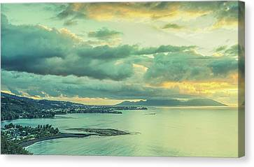 Canvas Print featuring the photograph Sunset In Tahiti by Gary Slawsky