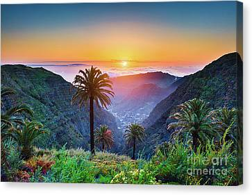 Sunset In The Canary Islands Canvas Print by JR Photography