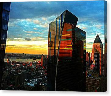 Sunset In The City Canvas Print by Lisa  Esposito