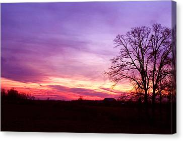 Sunset In The Country Canvas Print by Amanda Kiplinger