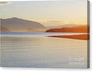 Sunset In The Mist Canvas Print by Victor K