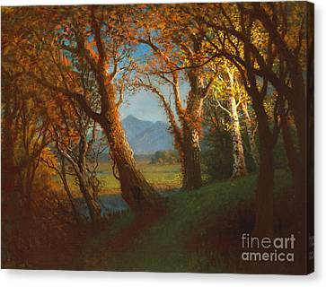 Sunset In The Nebraska Territory Canvas Print by Albert Bierstadt