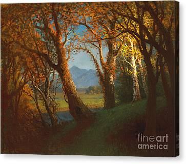Sunset In The Nebraska Territory Canvas Print by Albert Bierstadt
