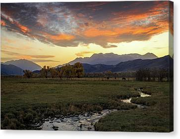 Canvas Print featuring the photograph Sunset In The North Fields, Heber Valley, Utah. by Johnny Adolphson