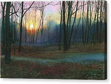 Sunset In The Park Canvas Print by Sergey Zhiboedov