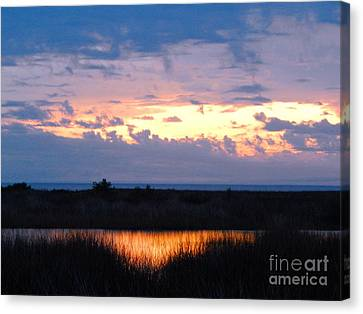 Sunset In The River Sea Beyond Canvas Print
